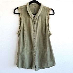 Free People Sleeveless Cutoff Top Distressed 212A